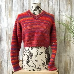 Vintage Striped Fuzzy Crop Sweater